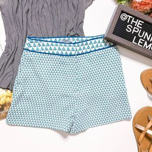 H&M Blue & White Summer Shorts with Triangle Print